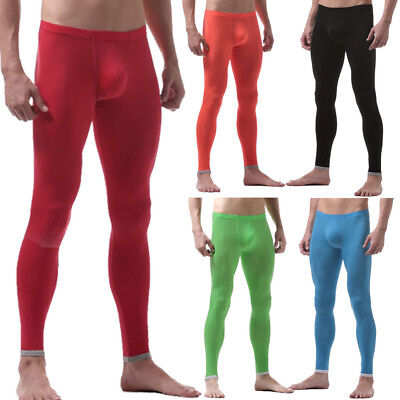 New Men Ice Silk Solid Long Johns Slim Fit Warm Underwear Tights Trousers Bottom