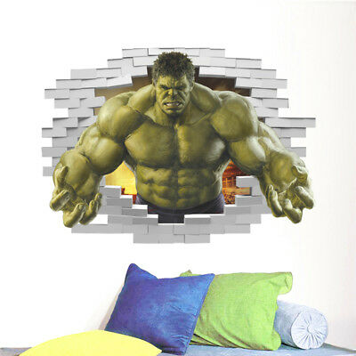 3D Avengers Green Hulk Wall Stickers Decals Wallpaper Mural Art Decor Kid Room