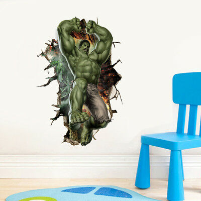 3D Avengers Hulk Peel Wall Stickers Decal Wallpaper Mural Art Decor Kids Room
