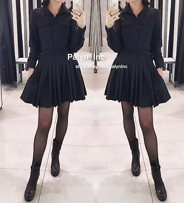 Rare_NWT $129 ZARA AW17 STUDIO SHIRT DRESS WITH PLEATED SKIRT NAVY BLUE_S M L