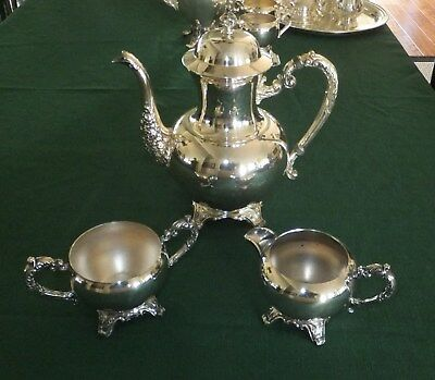 Wm Rogers vintage 3pc quadruple silver-plated coffee/tea set   [696]