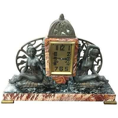 "Large French Art Deco Clock ""Deco Girls""Sculpture, circa 1940s"
