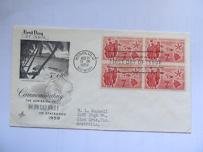 USA FIRST DAY of ISSUE 1959 7 Cent STAMP COMM ADMISSION of HAWAII to STATEHOOD