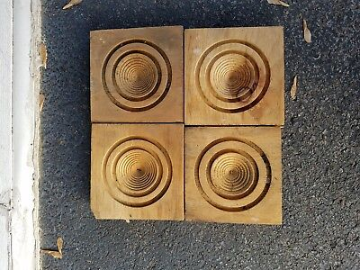 2 pairs Antique Wood Door Corner Moulding Architectual Salvage Hand Made