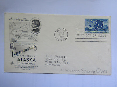 USA FIRST DAY of ISSUE 1959 7 Cent STAMP COMMEM ADMISSION of ALASKA to STATEHOOD