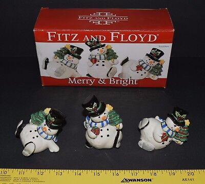 Fitz And Floyd Merry & Bright Snowman Tumblers