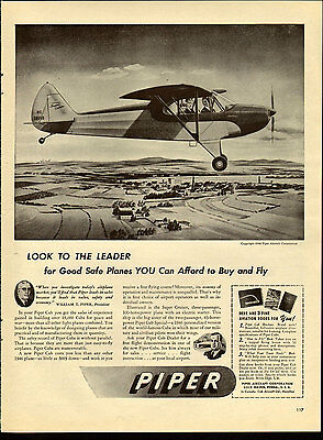Vintage 1946 PIPER CUB AIRCRAFT Large Magazine Print Advertising Post-WWII