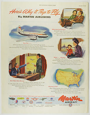 Vintage 1946 MARTIN AIRCRAFT Lg Full-Page Magazine Print Advertising Post-WWII