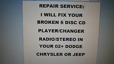 Repair Service For 6 Disc Cd Changer/player 02-07 Chrysler/dodge/jeep~No Radio