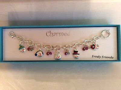 "Silver Holiday 8"" Frosty (snowman) Charm Bracelet ""Frosty Friends"""