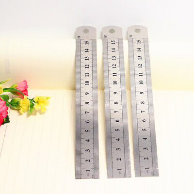 5Pcs Dual Side Marked Stainless Steel Straight Ruler 15cm/6 in. Measurement Tool