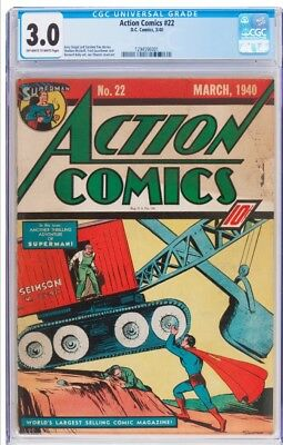 Action Comics 22 CGC 3.0 Universal! CLASSIC War cover! OW/W pages
