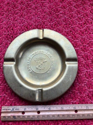 Vintage Ashtray - 50s 60s Cadillac Brass Cigar Cigarette Dealer Advertising Nice