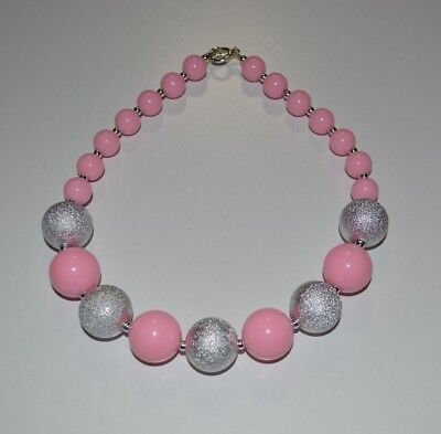 Pink and Silver /Pink and Gold Chunky Necklace,Baby Necklace,Bubblegum Necklace