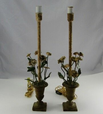 "Pair of Vintage Italian Iron Tole Urn Oxidized Buffet Lamps 17.5"" No Shades"