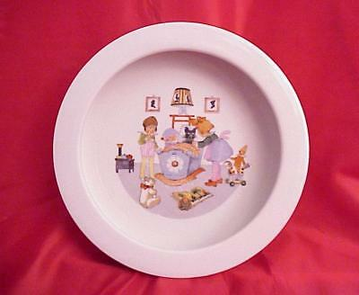Vintage Antique Childs Baby Bowl High Rim Dish w/ Kitty & Cradle ~ O G Germany