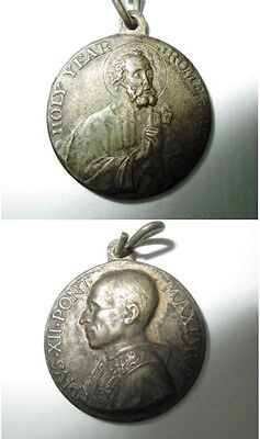 Vintage Catholic Medal POPE PIUS XII Holy Year 1950 Vatican Metal Silver Finish