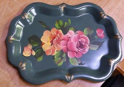 """ANTIQUE VINTAGE SMALL GREEN TOLE? METAL TRAY HAND PAINTED FLOWERS  FLORAL  8""""x6"""""""