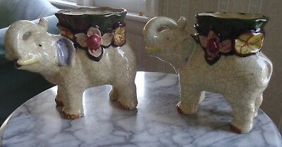 Pair of Vintage Hand Painted Made in Japan Elephant Planters