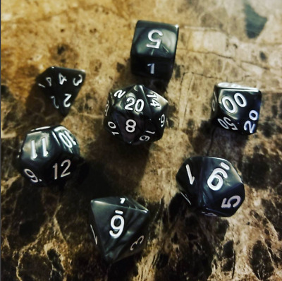 Black Pearl Dice Set Polyhedral DND Dungeons and Dragons Pathfinder