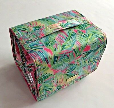 LILLY PULITZER Tropical Storm Travel Makeup Cosmetic Roll Case Hanging Palm NEW