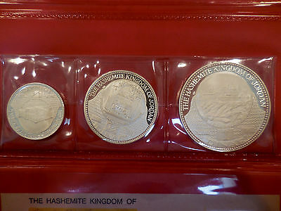 Jordan Hashemite Kingdom 1968 3 Coin Silver Proof Set Rare Original Case