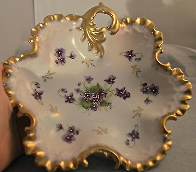 Napco Hand Painted Gold Trim w/Handle China Dish S1206 Purple and White Flowers