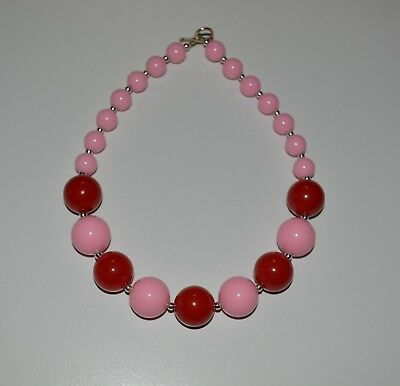 Red & Pink Valentine Baby/Girl Chunky Necklace ,Valentine Bubblegum Necklace