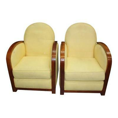 Fine Pair Of French Art Deco Speed Armchairs or Club Chairs, circa 1940s .AS IS