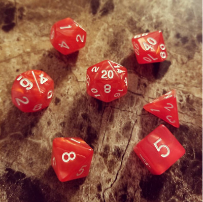 Red Pearl Dice Set Polyhedral DND Dungeons and Dragons Pathfinder