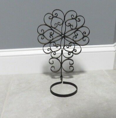 Antique Wrought Iron Wall Mount Plant Holder Original Black Paint