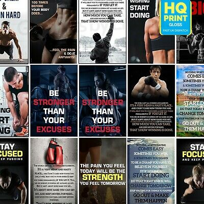 GYM MOTIVATION QUOTES POSTER FITNESS Training Inspirational Muscle workout A3 A4