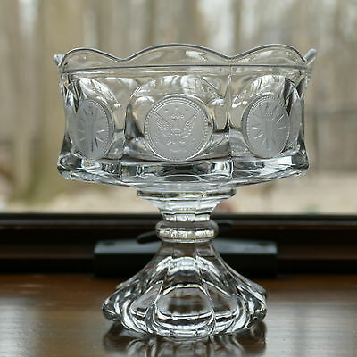 """Vintage Fostoria Clear Glass Coin Pedestal 5½"""" x 5¼"""" Compote Candy Dish ~ No Lid"""