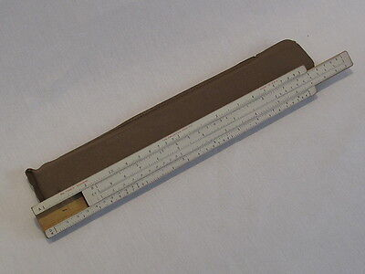 "Vintage Frederick Post # 1446-D 10"" Wood Student Slide Rule ~ Marked U.S."