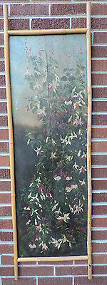Antique Shabby VICTORIAN Pink & White FUCHSIA Flowers WOOD Screen Salvage Piece