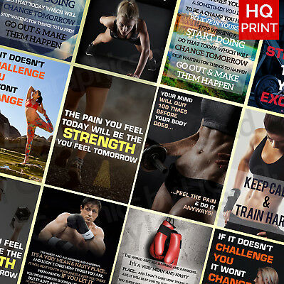 GYM MOTIVATION QUOTES A3 A4 POSTER PRINT Training Fitness workout Inspirational