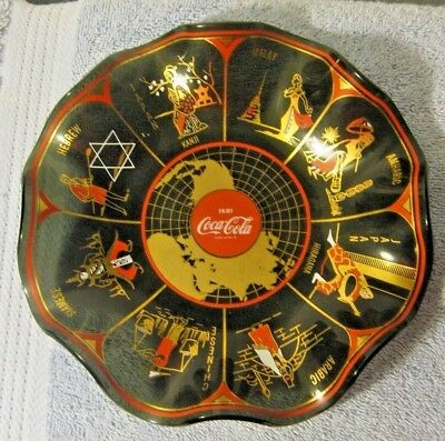 Vintage Coca-Cola Glass Scalloped Bowl Countries From Around The World