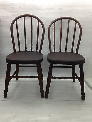 Pair Antique Child's Oak Curved Back Chairs School Wooden Doll House