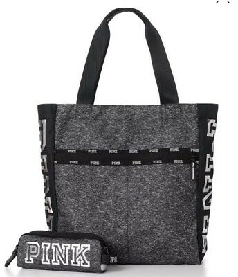 Victoria's Secret PINK Black Friday Tote Bag Tech Pouch Nwt Gray