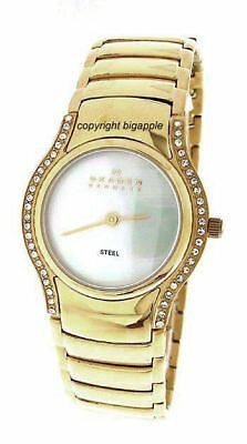 ff1fb75456d3 New Skagen Steel Crystal Case Mother Of Pearl Dial Gold Tone Band Ladies  Watch