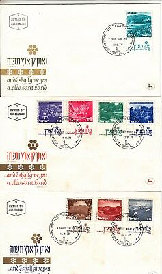 Israel: 1971-5 Landscapes on 9 First day Covers. SG493/510a.Scarce & going cheap