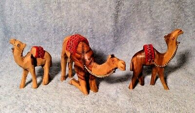 "Hand Carved Wood Camels Set 3 Standing Kneeling 3 - 7"" Fabric Saddles Gold Chain"