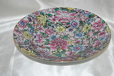 Vintage Hand Painted Chinese Porcelain Serving or Soup Bowl Floral Pattern