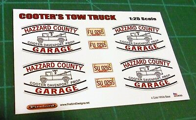 Cooter Davenport's Tow Truck Decal Set 1:25 Scale BIN30