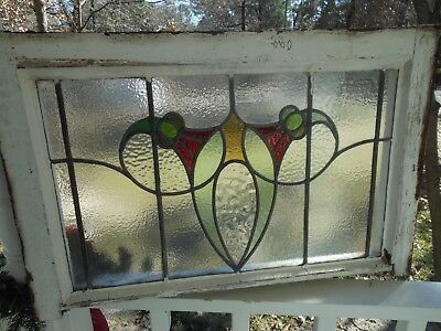 V-880 Older & Beautiful LARGE Transom Leaded Stained Glass Window From England