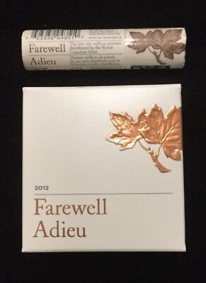 2012 Canada Farewell To The Penny Special Wrap Roll & 1/2 oz Silver Proof Coin
