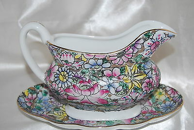 Vintage Hand Painted Chinese Porcelain Gravy Pitcher & Dish - Floral Pattern