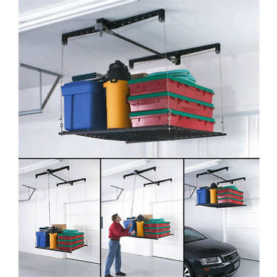 Adjustable Overhead Garage Storage Rack Stock Pulley Cable Lifted