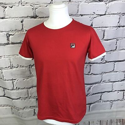 Mens VTG style FILA Italy White Line Red T shirt Small retro casuals S Tee Shirt