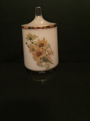 White Matte Glass Container~Gold Trim Round Lid ~ sunflowers 🌻Container Antique